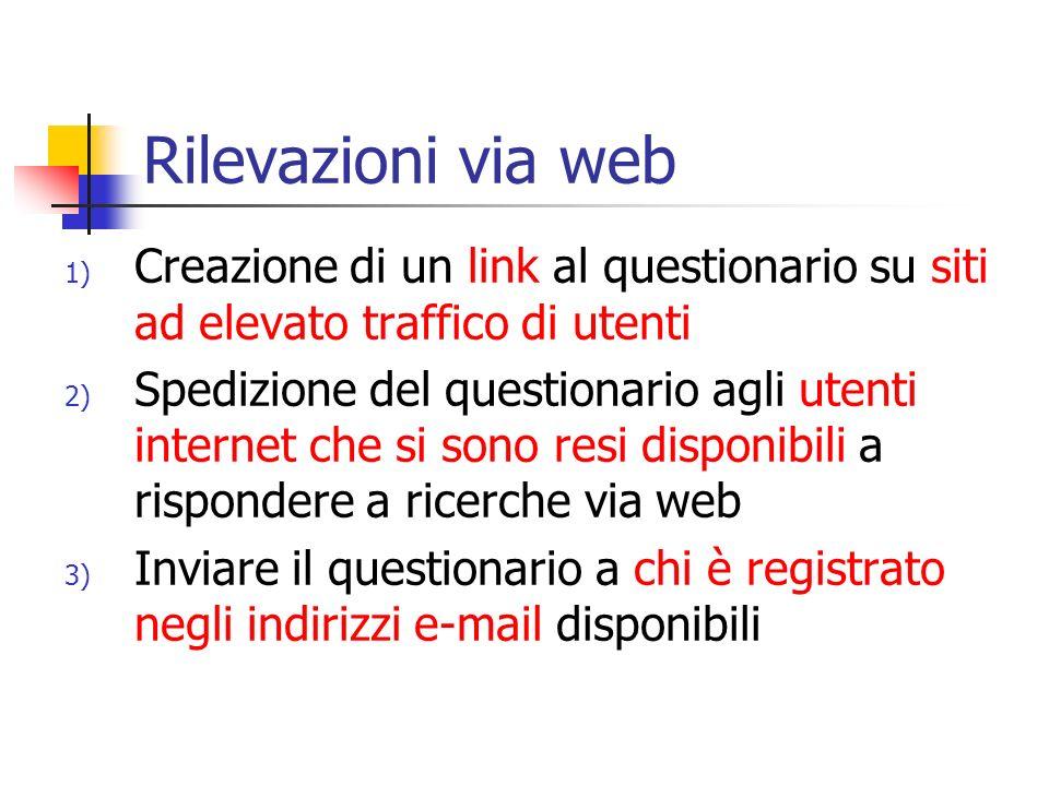 Rilevazioni via web Creazione di un link al questionario su siti ad elevato traffico di utenti.