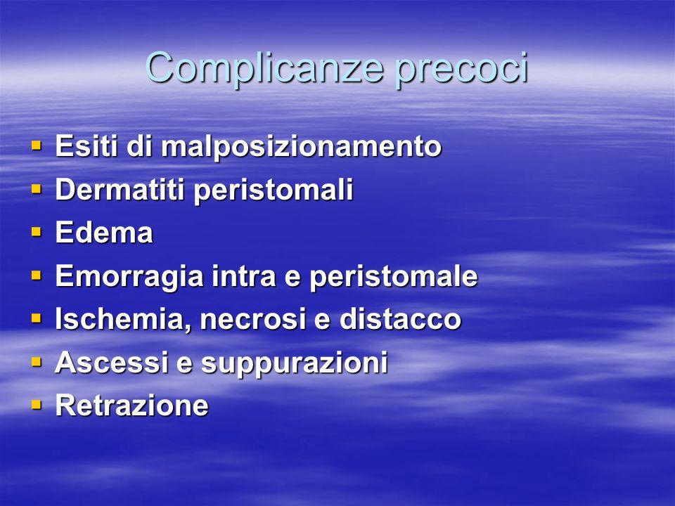 Complicanze precoci Esiti di malposizionamento Dermatiti peristomali