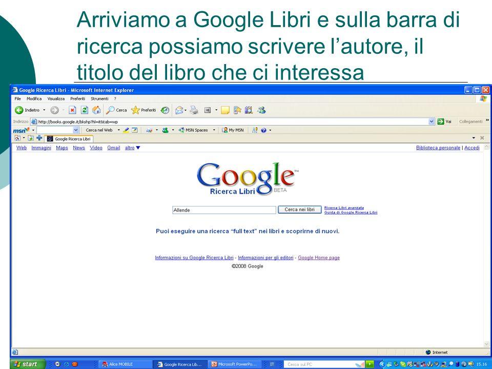 Arriviamo a Google Libri e sulla barra di ricerca possiamo scrivere l'autore, il titolo del libro che ci interessa