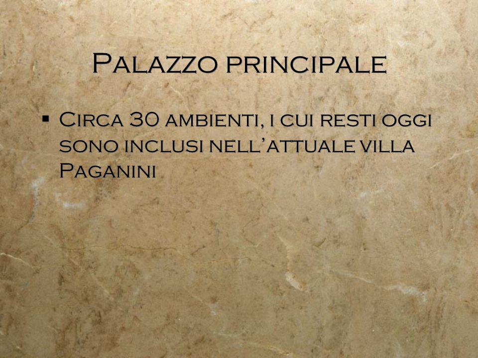Palazzo principale Circa 30 ambienti, i cui resti oggi sono inclusi nell'attuale villa Paganini