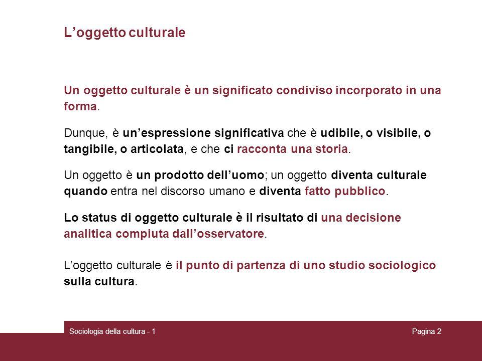 L'oggetto culturale Un oggetto culturale è un significato condiviso incorporato in una. forma.
