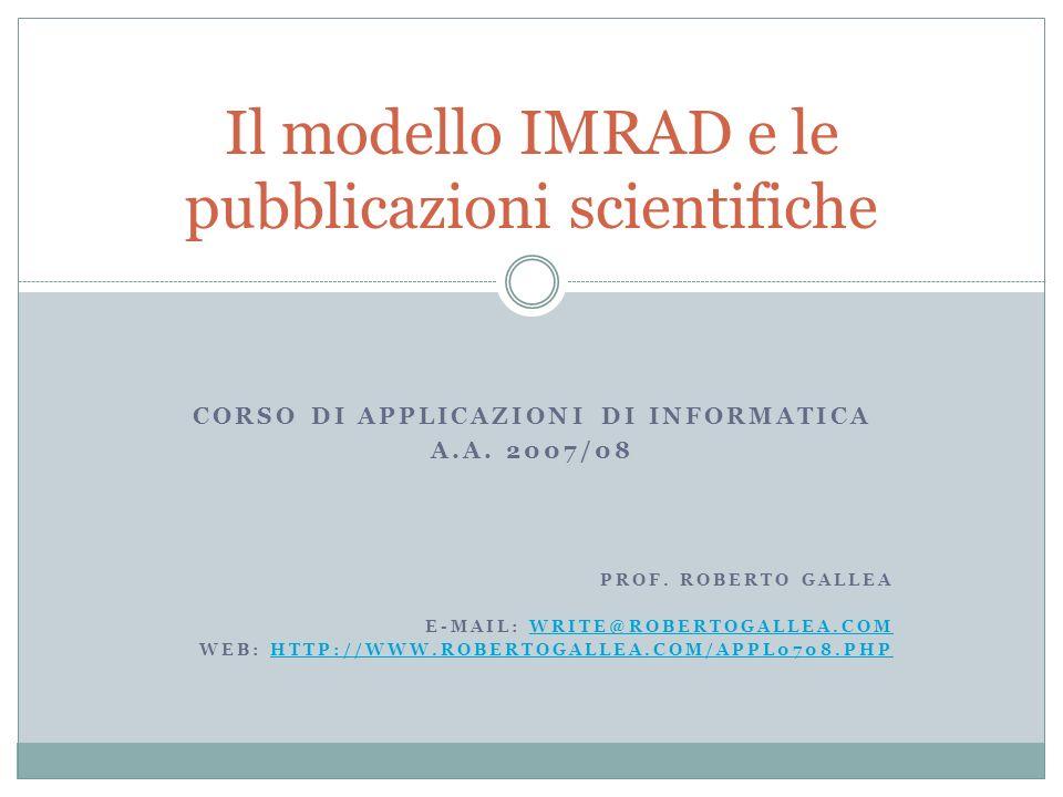 Il modello IMRAD e le pubblicazioni scientifiche
