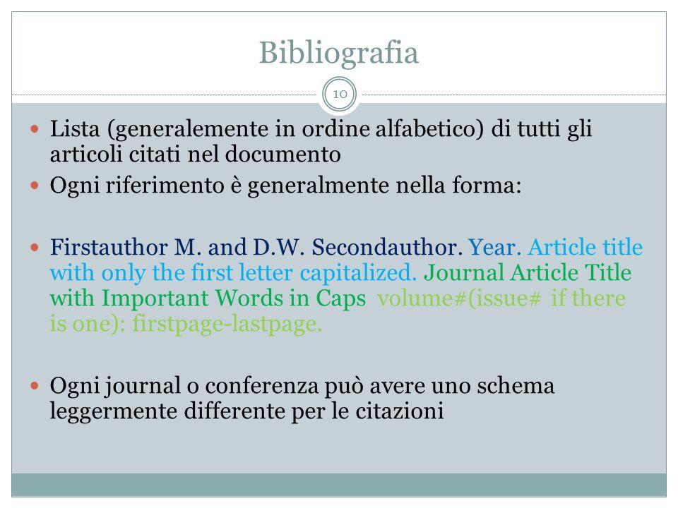 BibliografiaLista (generalemente in ordine alfabetico) di tutti gli articoli citati nel documento. Ogni riferimento è generalmente nella forma: