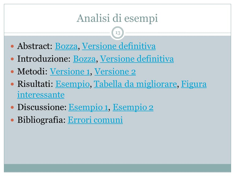 Analisi di esempi Abstract: Bozza, Versione definitiva