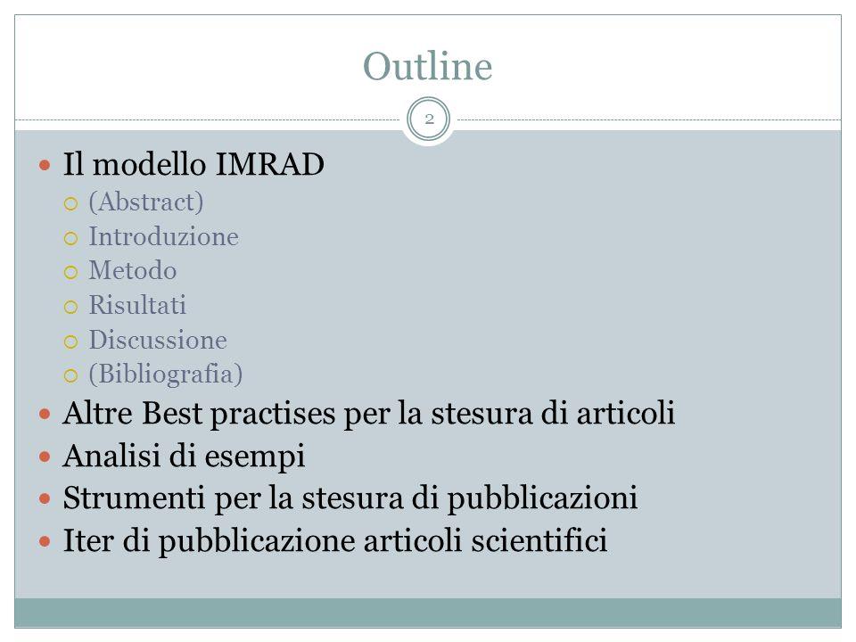 Outline Il modello IMRAD