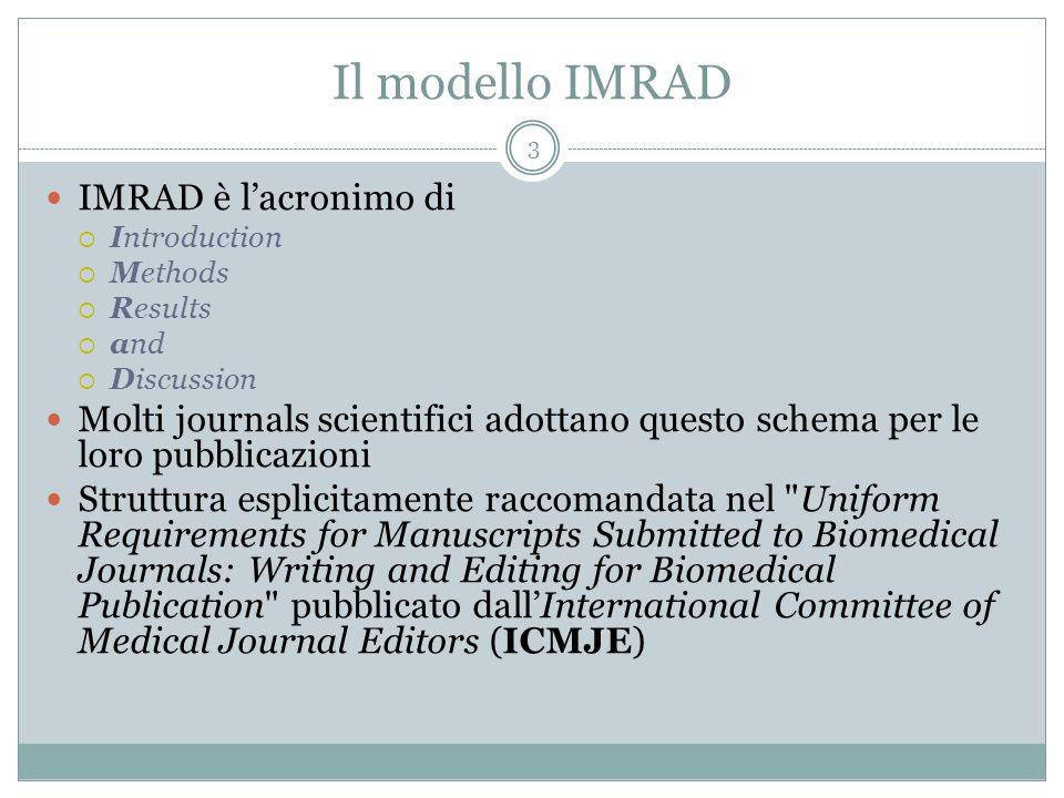 Il modello IMRAD IMRAD è l'acronimo di