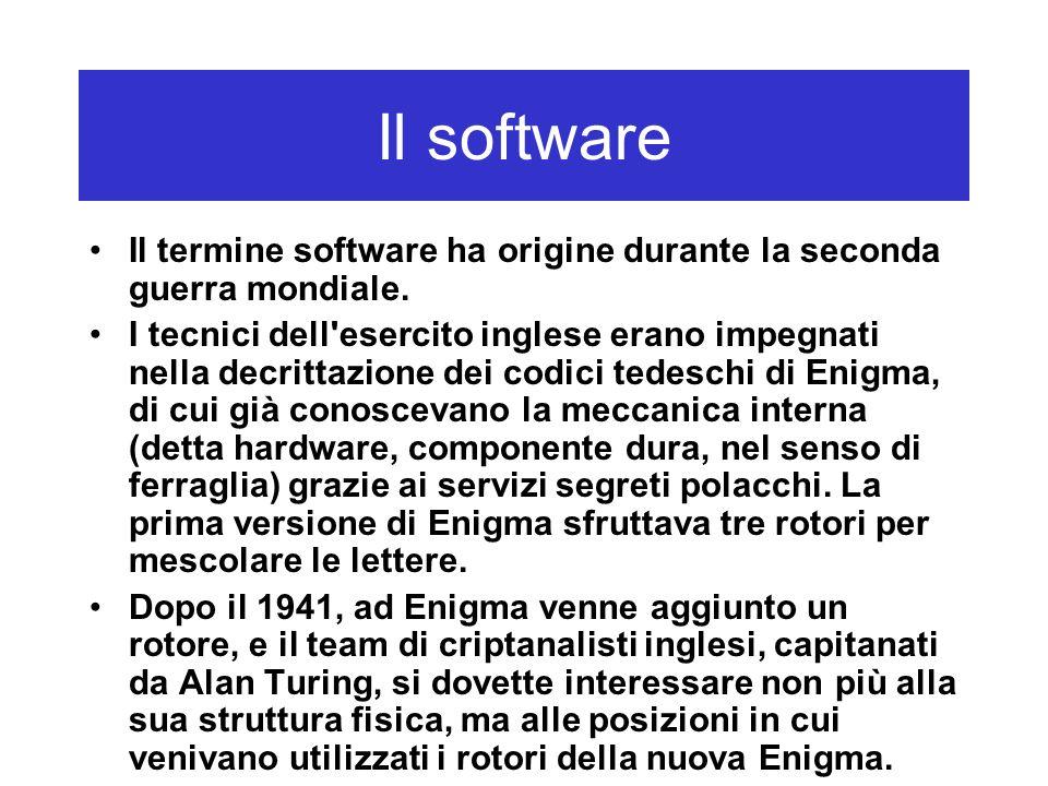 Il software Il termine software ha origine durante la seconda guerra mondiale.