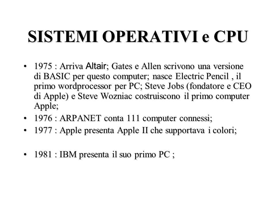 SISTEMI OPERATIVI e CPU