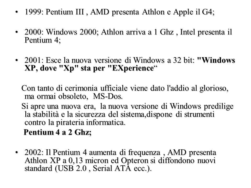 1999: Pentium III , AMD presenta Athlon e Apple il G4;