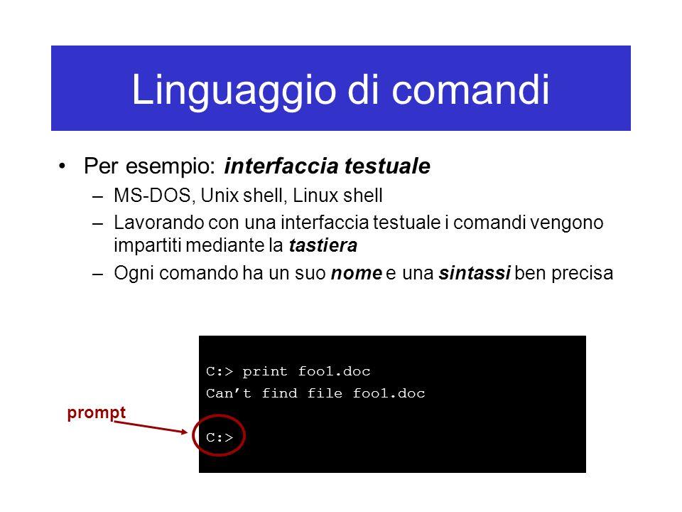 Linguaggio di comandi Per esempio: interfaccia testuale
