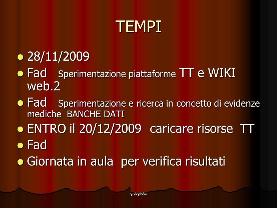 TEMPI 28/11/2009 Fad Sperimentazione piattaforme TT e WIKI web.2