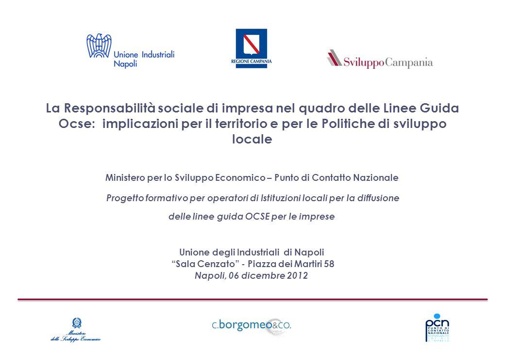 La Responsabilità sociale di impresa nel quadro delle Linee Guida Ocse: implicazioni per il territorio e per le Politiche di sviluppo locale