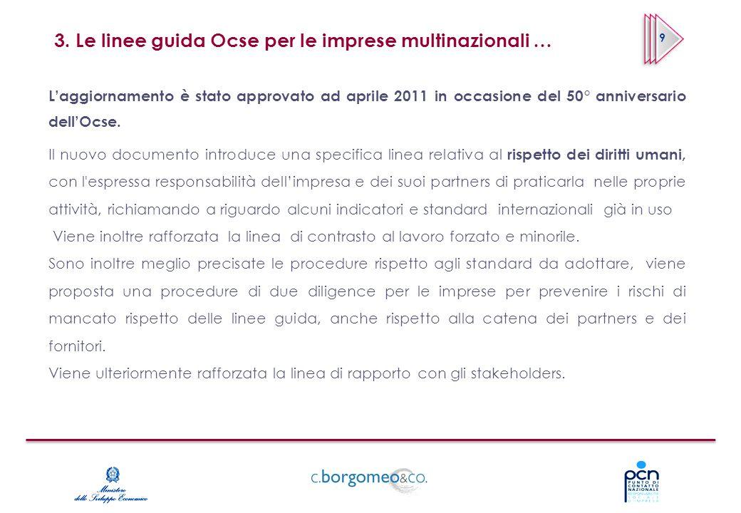 3. Le linee guida Ocse per le imprese multinazionali …