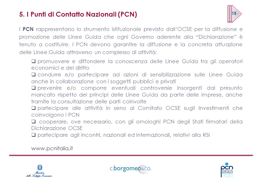 5. I Punti di Contatto Nazionali (PCN)
