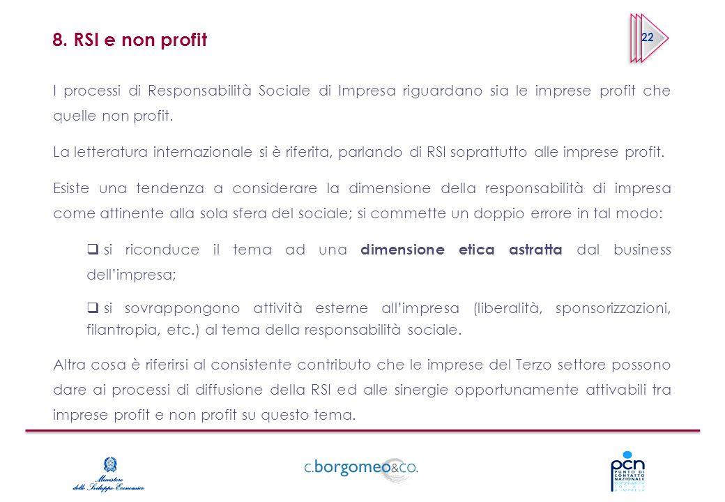 8. RSI e non profit 22. I processi di Responsabilità Sociale di Impresa riguardano sia le imprese profit che quelle non profit.