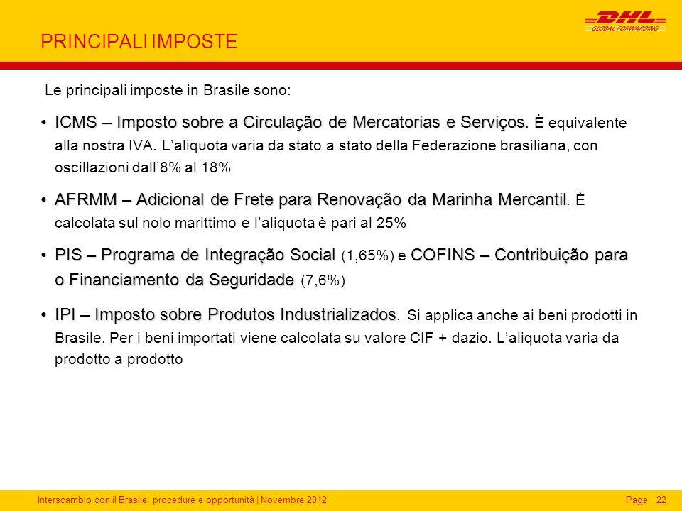 PRINCIPALI IMPOSTELe principali imposte in Brasile sono:
