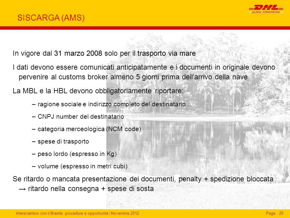 SISCARGA (AMS)In vigore dal 31 marzo 2008 solo per il trasporto via mare.