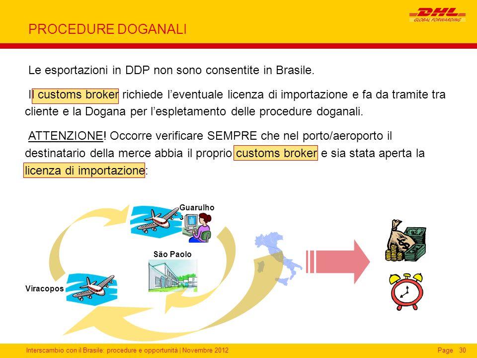 PROCEDURE DOGANALI Le esportazioni in DDP non sono consentite in Brasile.