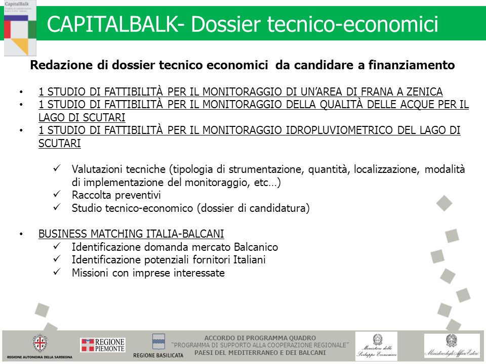 CAPITALBALK- Dossier tecnico-economici