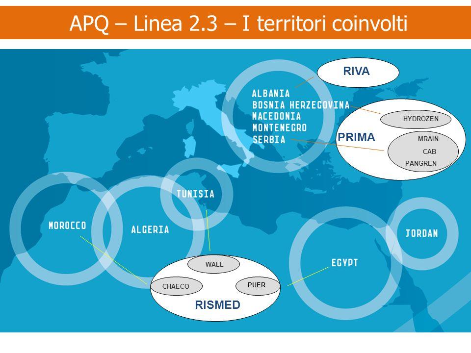 APQ – Linea 2.3 – I territori coinvolti