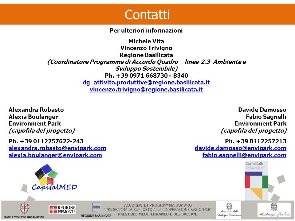 Contatti Per ulteriori informazioni Michele Vita Vincenzo Trivigno