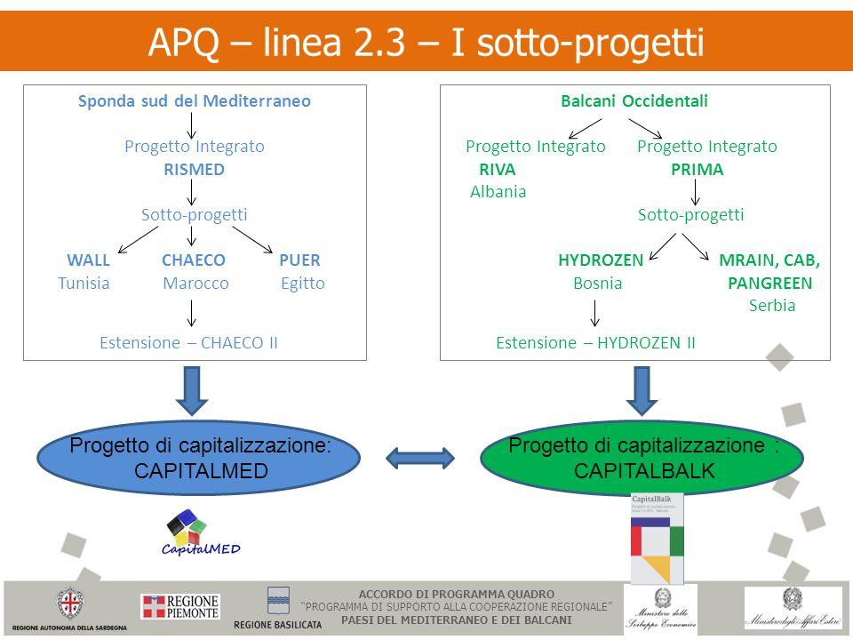 APQ – linea 2.3 – I sotto-progetti