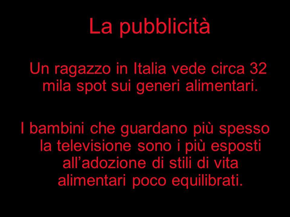 Un ragazzo in Italia vede circa 32 mila spot sui generi alimentari.