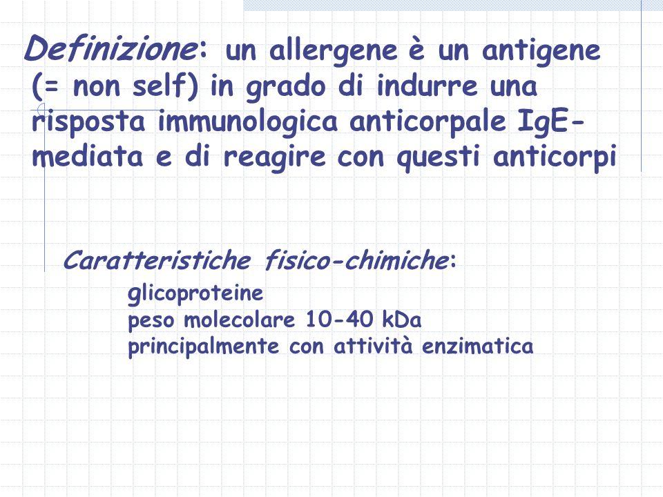 Definizione: un allergene è un antigene (= non self) in grado di indurre una risposta immunologica anticorpale IgE-mediata e di reagire con questi anticorpi