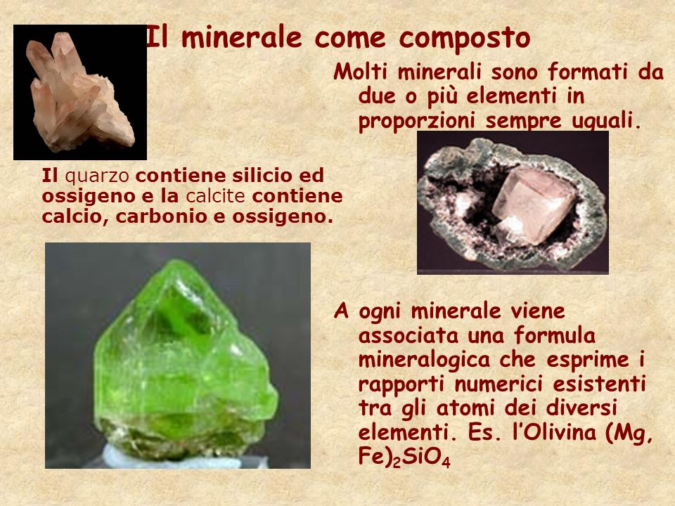 Il minerale come composto
