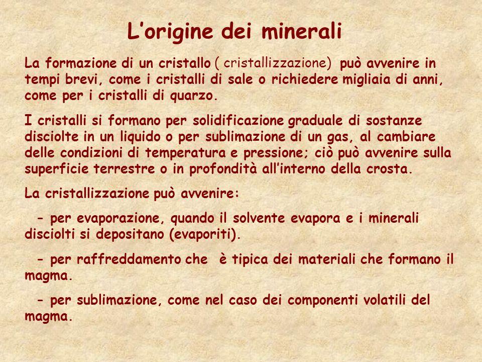 L'origine dei minerali