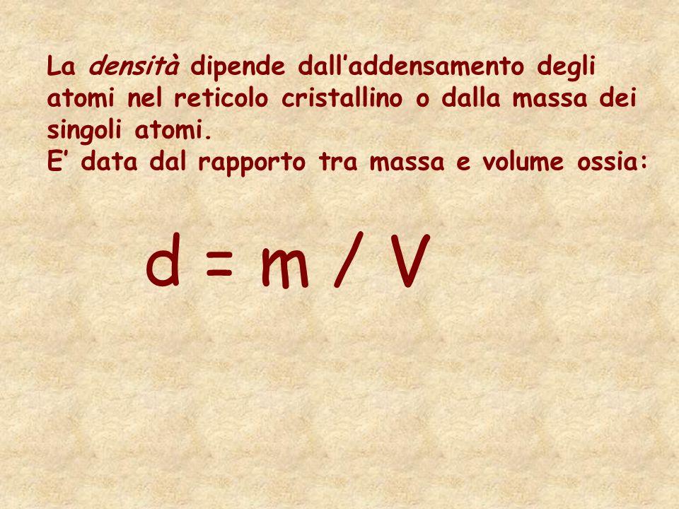 La densità dipende dall'addensamento degli atomi nel reticolo cristallino o dalla massa dei singoli atomi.