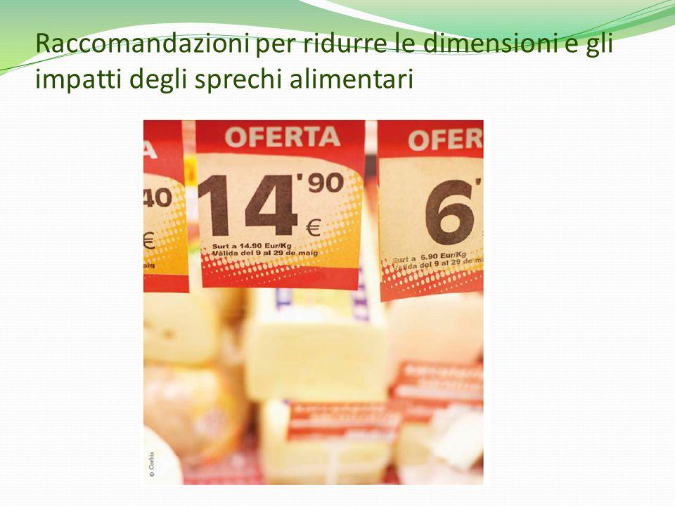 Raccomandazioni per ridurre le dimensioni e gli impatti degli sprechi alimentari