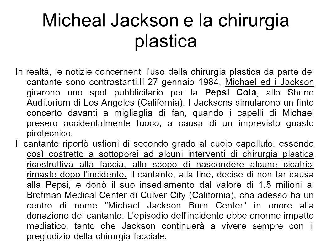 Micheal Jackson e la chirurgia plastica