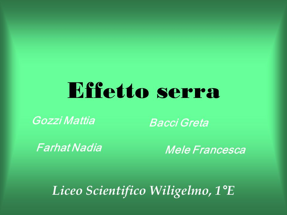 Liceo Scientifico Wiligelmo, 1°E
