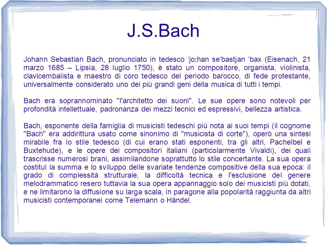 J s bach prof antonello d 39 amico ppt video online scaricare for Compositore tedesco della musica da tavola