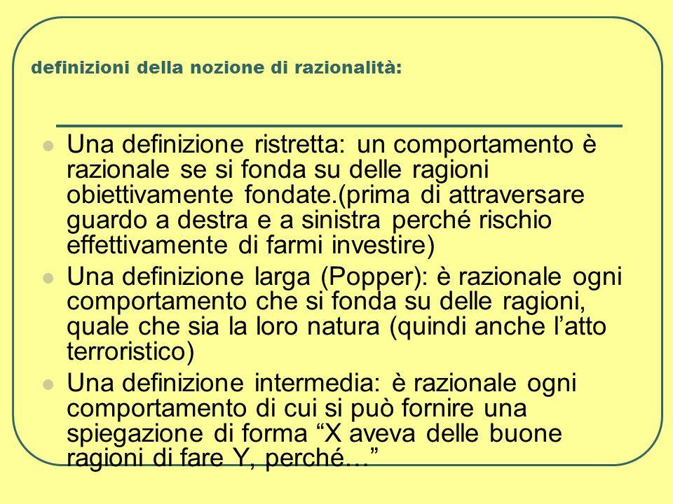 definizioni della nozione di razionalità: