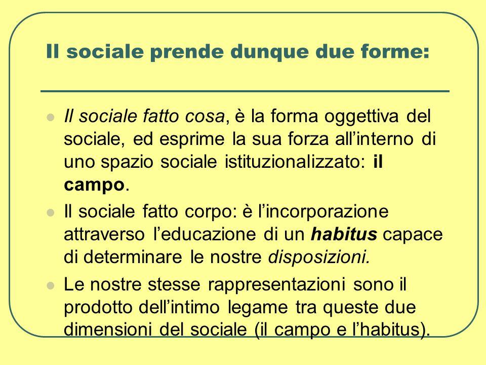 Il sociale prende dunque due forme:
