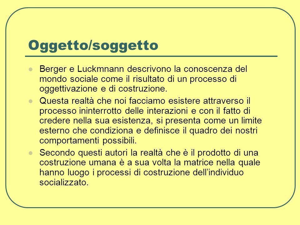 Oggetto/soggetto Berger e Luckmnann descrivono la conoscenza del mondo sociale come il risultato di un processo di oggettivazione e di costruzione.