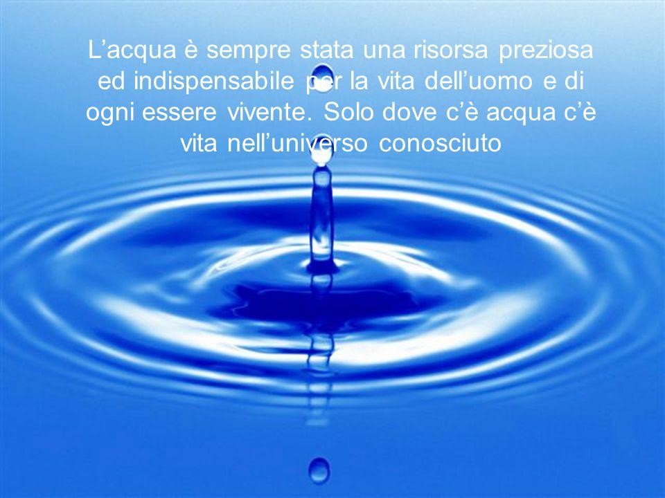 L'acqua è sempre stata una risorsa preziosa ed indispensabile per la vita dell'uomo e di ogni essere vivente.