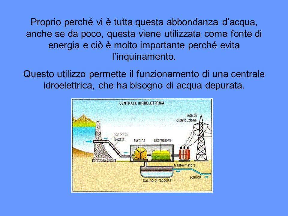 Proprio perché vi è tutta questa abbondanza d'acqua, anche se da poco, questa viene utilizzata come fonte di energia e ciò è molto importante perché evita l'inquinamento.