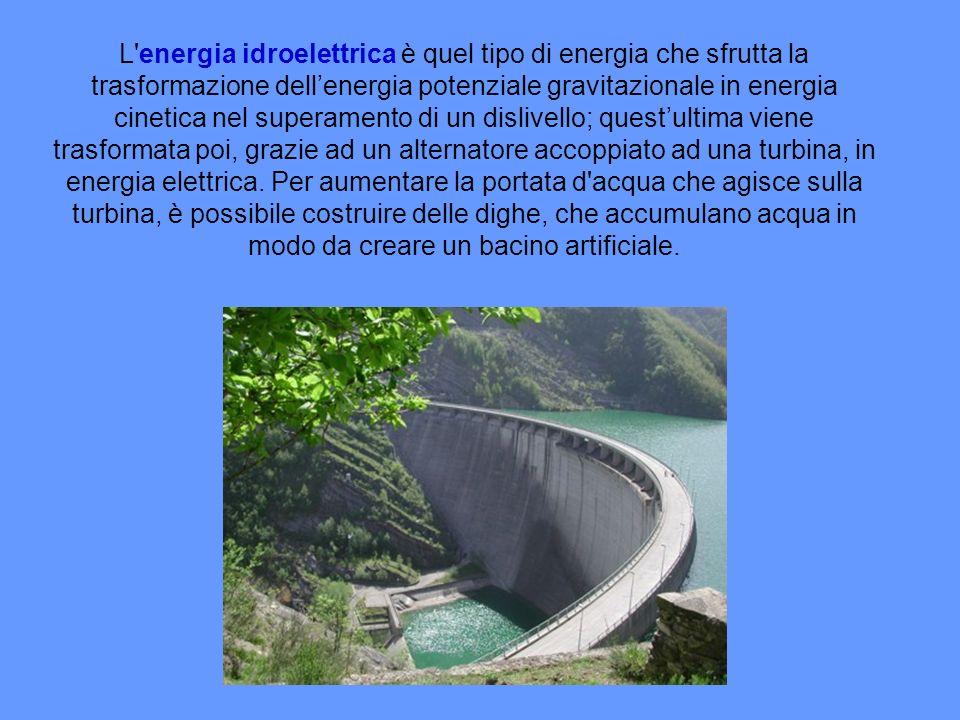 L energia idroelettrica è quel tipo di energia che sfrutta la trasformazione dell'energia potenziale gravitazionale in energia cinetica nel superamento di un dislivello; quest'ultima viene trasformata poi, grazie ad un alternatore accoppiato ad una turbina, in energia elettrica.