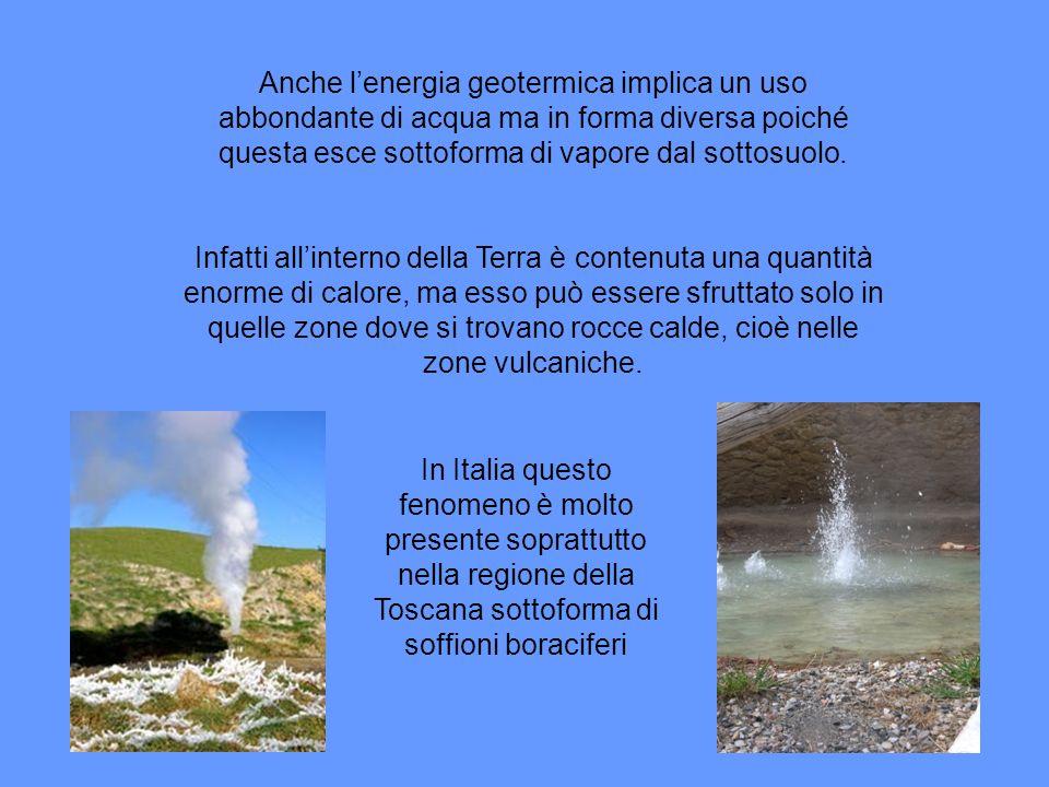 Anche l'energia geotermica implica un uso abbondante di acqua ma in forma diversa poiché questa esce sottoforma di vapore dal sottosuolo.