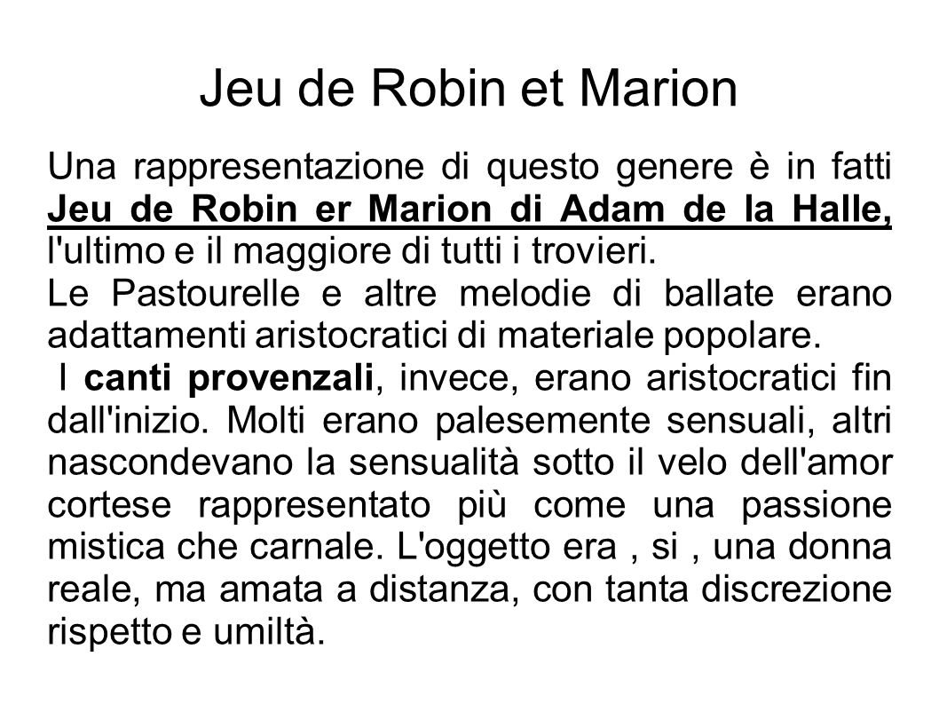 Jeu de Robin et Marion