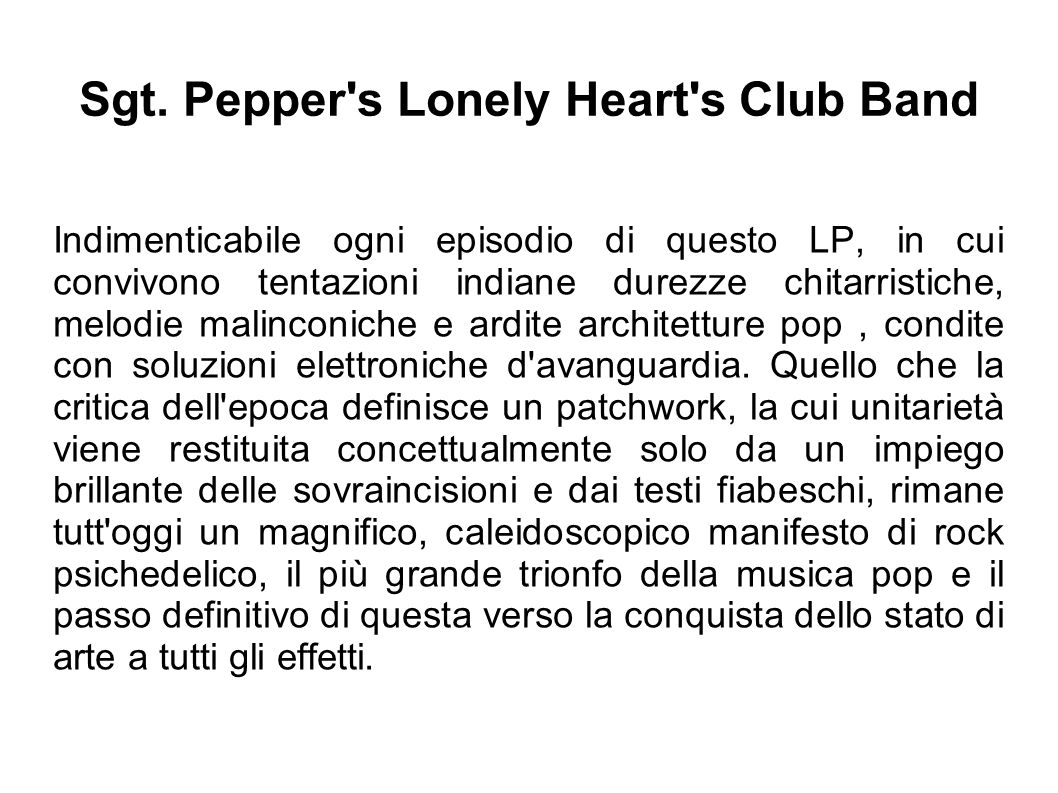 Sgt. Pepper s Lonely Heart s Club Band