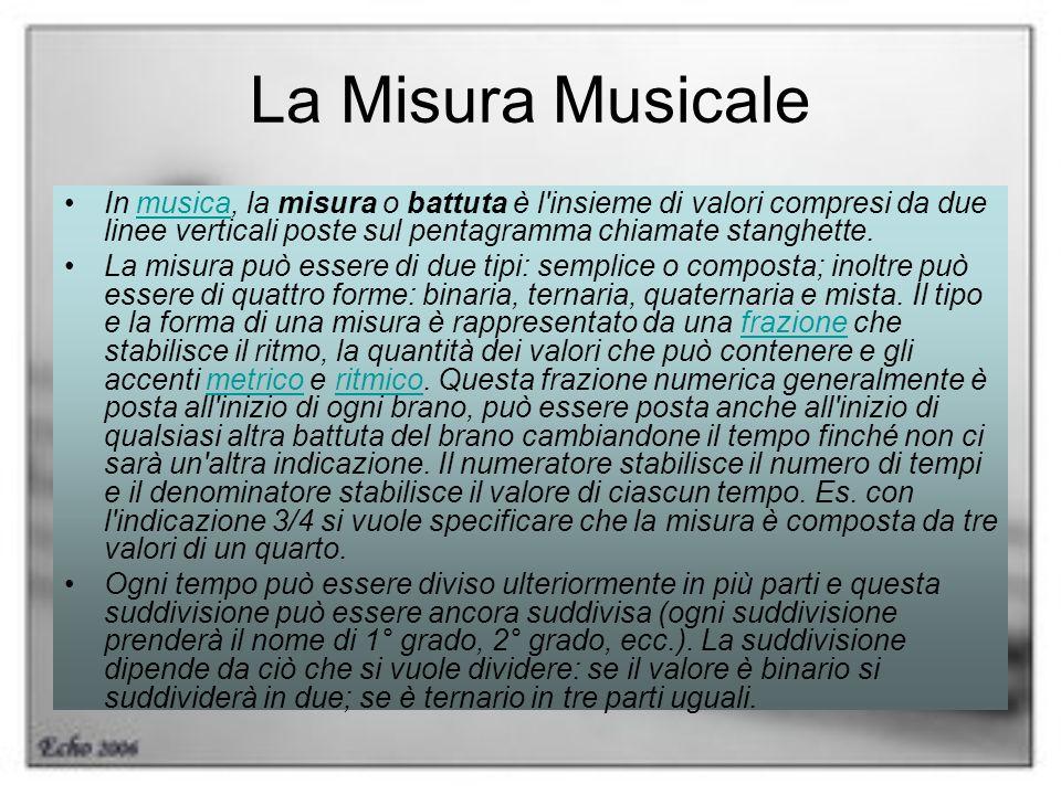La Misura Musicale In musica, la misura o battuta è l insieme di valori compresi da due linee verticali poste sul pentagramma chiamate stanghette.