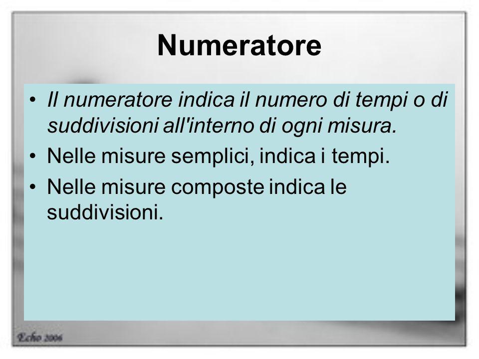 Numeratore Il numeratore indica il numero di tempi o di suddivisioni all interno di ogni misura. Nelle misure semplici, indica i tempi.