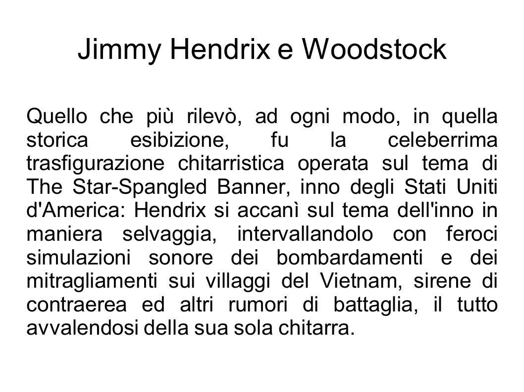 Jimmy Hendrix e Woodstock