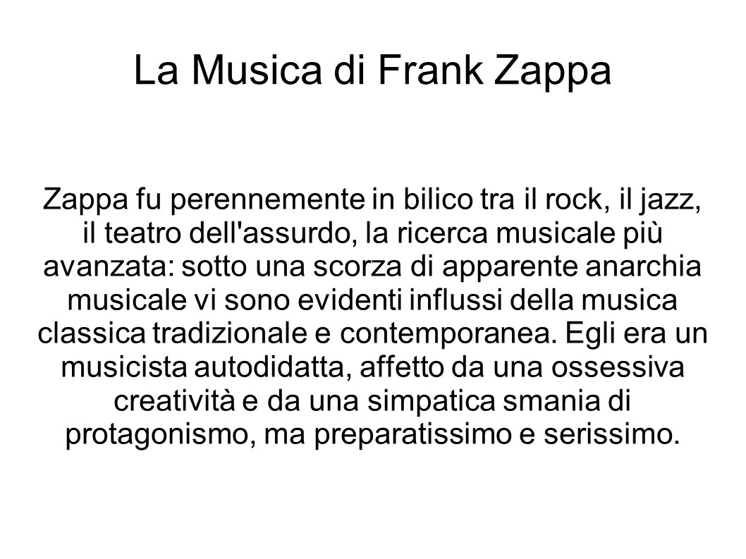La Musica di Frank Zappa