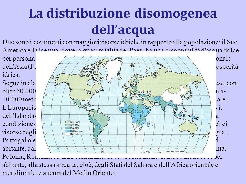 La distribuzione disomogenea dell'acqua