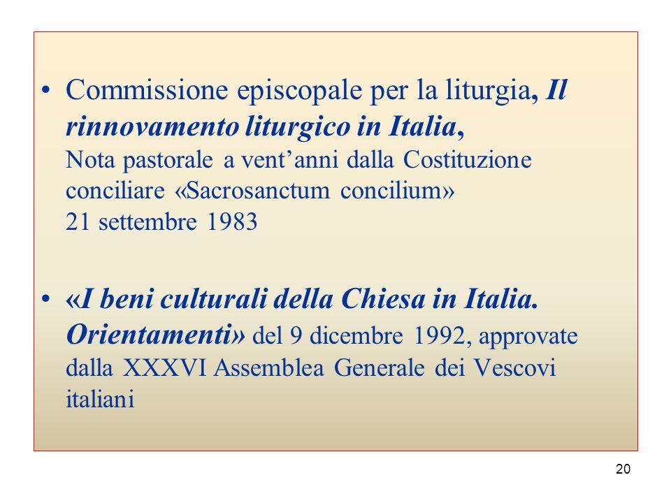 Commissione episcopale per la liturgia, Il rinnovamento liturgico in Italia, Nota pastorale a vent'anni dalla Costituzione conciliare «Sacrosanctum concilium» 21 settembre 1983